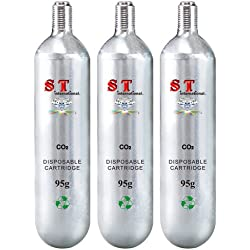 S.T. International CO2 Cartridge Refill - Disposable Cylinder 3 Pack44; 95g