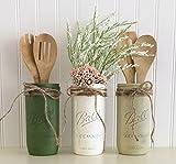 Mason Jar Utensil Holder Set - 3 Piece, Green, White, Beige, Kitchen Decor