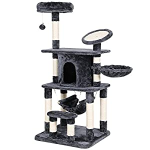 SONGMICS Multi-Level Cat Tree Condo Tower with Scratching Post and Pad Kitty Play House Furniture Grey UPCT25G