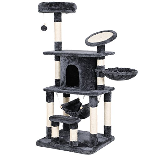 SONGMICS Multi-Level Cat Tree Condo Tower with Scratching Post and Pad Kitty Play House Furniture Grey UPCT25G Cat Climbing Towers