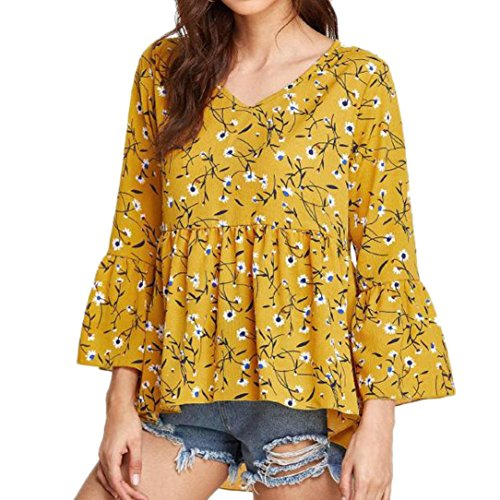(Big Promotion! Wintialy Fashion Women Casual Calico Print Dip Hem Tops Flare Sleeve V-Neck Shirt Blouse)