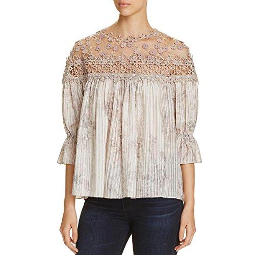 Elie Tahari Womens Neila Silk Blend Crochet Trim Peasant Top Brown XS ()