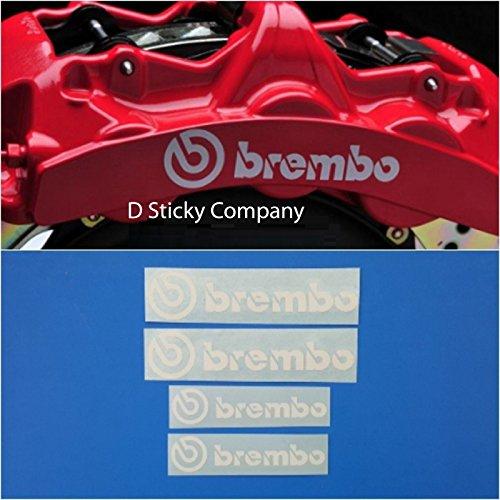 D Sticky Company Brembo 6 Piston & 4 piston High Temp Brake Caliper Decal Sticker Set of 4 (White)