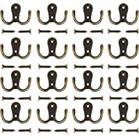 Maosifang 16 Pieces Double Prong Robe Hook Retro Cloth Hanger with 32 Pieces Screws,Bronze