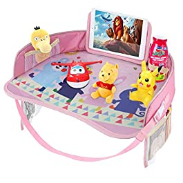 Idepet Kids Travel Tray,Baby Car Snack Play Trays with Dry Erase Top & Big Mesh Pockets,Toddler Car Seat Activity Tray…