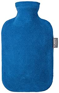 Fashy Blue Velour Covered Rubber Hot Water Bottle with Fleece Cover - Made in Germany