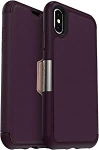 OtterBox Strada Series Case for iPhone Xs & iPhone X - Retail Packaging - Royal Blush (Winter Bloom/Cameo Rose)