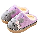 SITAILE Cute Home Shoes, Kids Fur Lined Indoor House Slippers Bunny Warm Winter Home Slippers for Girls Purple 18-19