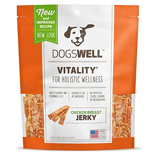 Dogswell Vitality Chicken Breast Jerky with Flaxseed, Omega 3 Fatty Acids, Vitamins A & E, Grain Free & 100% USA, 24 oz.