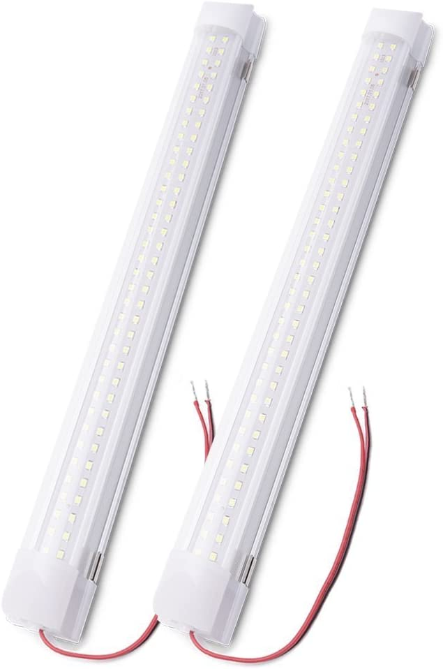 MICTUNING 13.5pulgadas 72 LED con interruptor ON y OFF Auto Car Interior iluminación de la lámpara de luz de la decoración interior, Camiones, Vehículos, Auto DC 12V Blanco (2 Pcs)