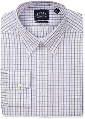 Eagle Men's Non Iron Stretch Collar Regular Fit Plaid Dress Shirt