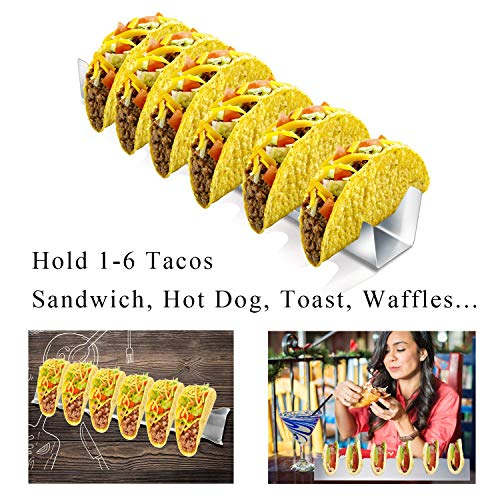 Stainless Steel Taco Holder (Holds 6 Tacos) Mexican Food Taco Shell Holder Kids and Adults Party Buffet Serving Set Oven Save for Baking, Dishwasher and Grill Safe