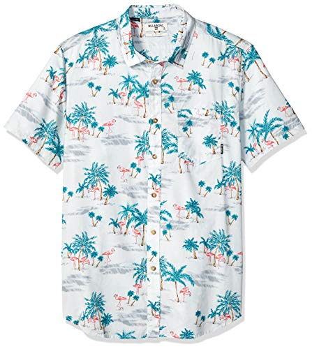 Billabong Men's Sundays Floral Short Sleeve Shirt Grey Small