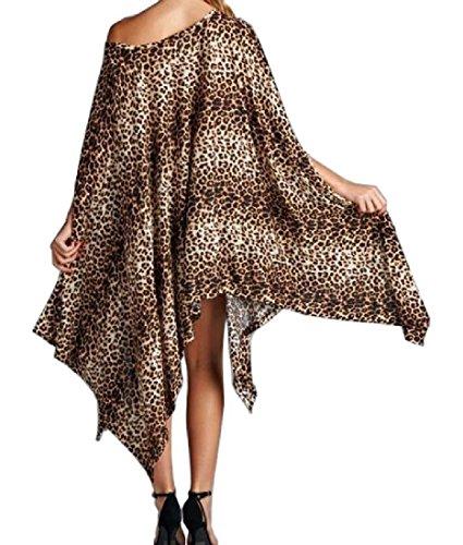 Coolred-donne Larghi Stampa Leopardo Plus-size Irregolare Vestito Lungezza Medio Come Immagine