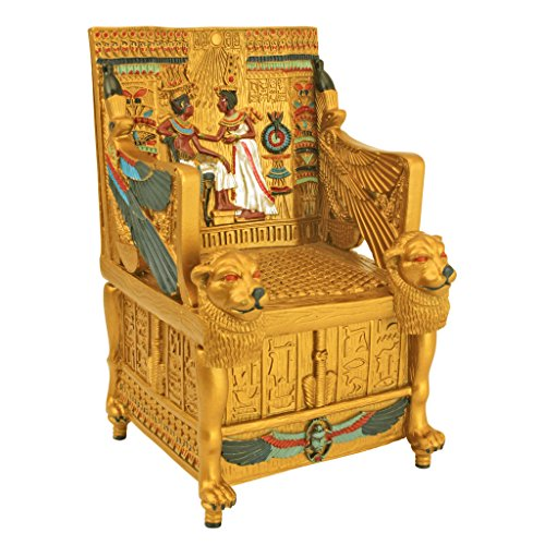 Egyptian Décor Trinket Box   King Tutu0027s Golden Throne Jewelry Box   Egyptian  Statues
