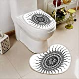 Non-slip Bath Toilet Mat Classic India Style Sun and Beams like Oriental ative Print Black and White Soft Non-Slip Water