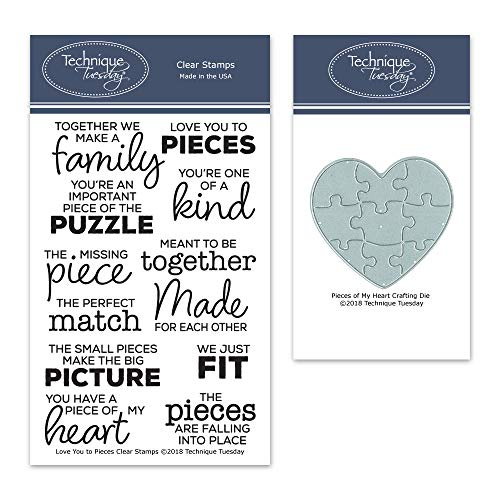 (Love You to Pieces Stamp Set and Pieces of My Heart Crafting Die Bundle)