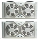 Holmes Dual Blade Twin Window fan with One Touch Thermostat (Pack of 2)