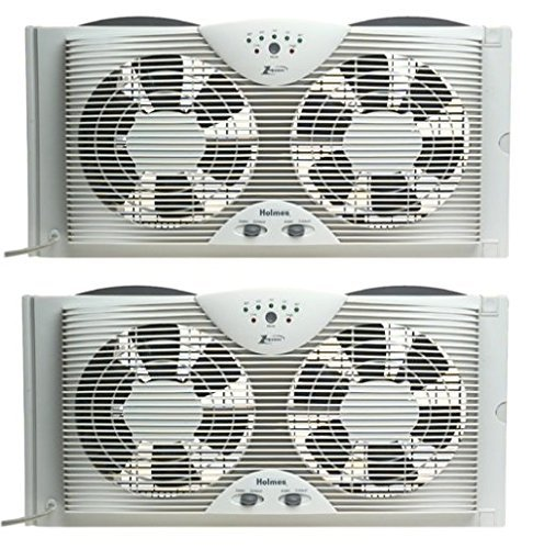 Holmes Dual Blade Twin Window fan with One Touch Thermostat (Pack of 2) by Holmes