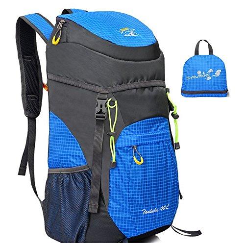 Ultraléger Vélo randonnée pliable Sac en Équitation pluie dos Imperméable à Respirant Nylon Sac Bleu pour Alpinisme Sac de 40L Randonnée Voyage qPzAZnw1w