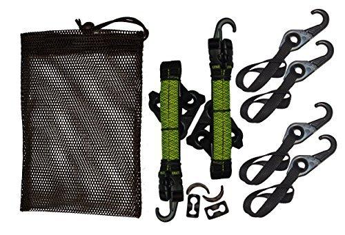 LYNX Hooks® Interlocking Adjustable Gear Strap Stash Bag Kit (Hi-Viz Green)