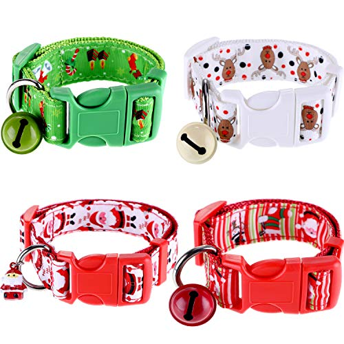 Jovitec 4 Pieces Christmas Pet Collar with Hanging Ornaments Adjustable Dog Collar with Santa Bells Elk Snowman Sock Patterns, 4 Styles