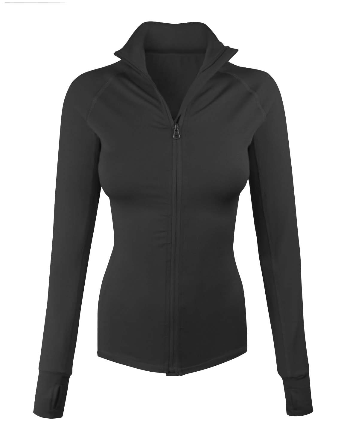 makeitmint Women's Comfy Zip Up Stretchy Work Out Track Jacket w/ Back Pocket SMALL YJZ0002_02CHARCOAL