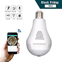 Wireless 360 Security Camera, Corprit Panoramic Home Surveillance Light Bulb camera 960P WiFi Remote View by Android iOS App