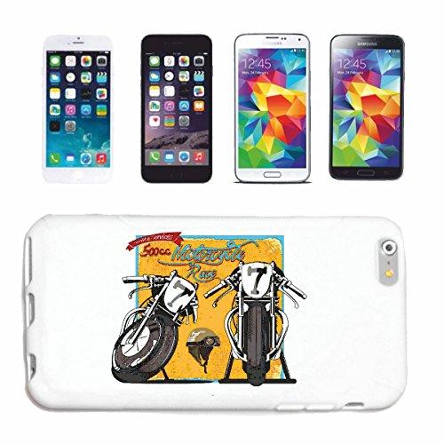 """cas de téléphone iPhone 7+ Plus """"500CC MOTO RACE SHIRT BIKER MOTO CHOPPER MOTO GOTHIQUE SKULL MOTO CLUB BIKE ROUTE 66"""" Hard Case Cover Téléphone Covers Smart Cover pour Apple iPhone en blanc"""