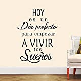 Boodecal Spanish Quote Wall Decals Hoy Es Un Dia Empezar a Vivir Tus Suenos Peel and Stick Wall Stickers for Bedroom Living Room 16*23 Inches