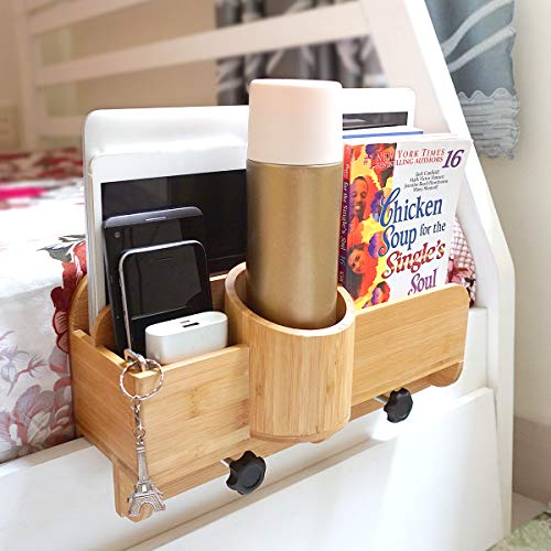 Wooros Bedside Organizer | Natural Bamboo Adjustable and Attachable Bedside Caddy for Dorm, Bunk, Loft Beds and Small Bedroom