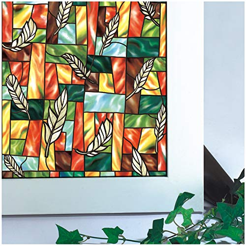 Bloss Vinyl Static Cling Privacy Leaf Stained Glass Decorative Window Film 17.7 Inches by 78.7 Inches