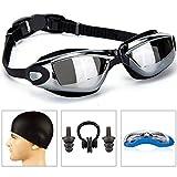 GAOGE Swimming Goggles + Swim Cap + Case + Nose Clip + Ear Plugs,Swim Goggles Anti Fog UV Protection for Adult Men Women Youth Kids Child Black