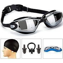 gaoge anteojos de natación + Swim Cap + Case + Nose Clip + Ear Plugs, anteojos de nadar Anti niebla Protección UV para hombres adultos mujeres Youth Kids Niño Negro