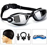 GAOGE Swimming Goggles + Swim Cap + Case + Nose Clip + Ear Plugs,Swim Goggles Anti Fog UV Protection for Adult Men Women Youth Kids Child Black