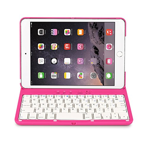 iNNEXT Aluminum 360 Swivel Rotating Stand Case Cover Built-in Bluetooth Keyboard for ipad Mini 1 2 3 with Retina Display (Hot Pink) by iNNEXT (Image #1)'
