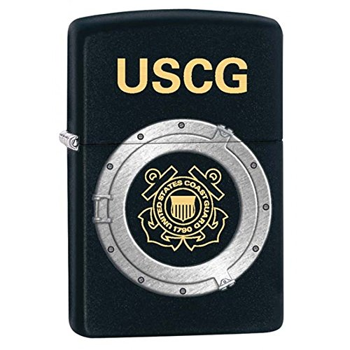 Personalized Coast Guard - Coast Guard Black Matte Zippo Outdoor Indoor Windproof Lighter Free Custom Personalized Engraved Message Permanent Lifetime Engraving on Backside