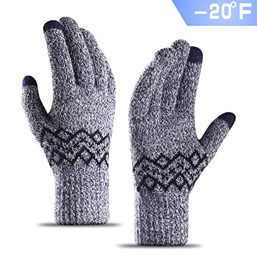 TRENDOUX Knit Touch Screen Winter Gloves - Unisex Glove - Elastic Cuff - Thermal Soft Wool Lining - Stretchy Material - M - ()