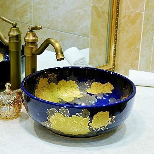 ZKS-KS ラウンドアート盆地/洗面台/キャビネット盆地/洗面セラミックバス洗面実用的で美しいです (Color : Natural)