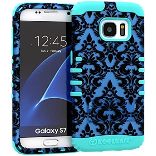 Galaxy S7 Case, Hybrid Heavy Duty Rugged Armor Kickstand Shock Proof Impact Resistant Grip Cover for Samsung Galaxy S7 (Blue Damask / B Teal) Sales