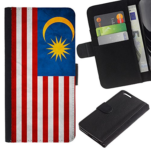 OMEGA Case / Apple Iphone 6 PLUS 5.5 / Malaysia Grunge Flag / Cuir PU Portefeuille Coverture Shell Armure Coque Coq Cas Etui Housse Case Cover Wallet Credit Card