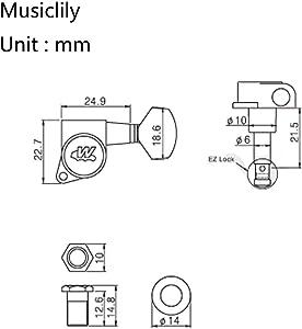 Wilkinson E-Z-LOK 6連フェンダーストラト/テレキャスター エレキギター用ペグ、クロム