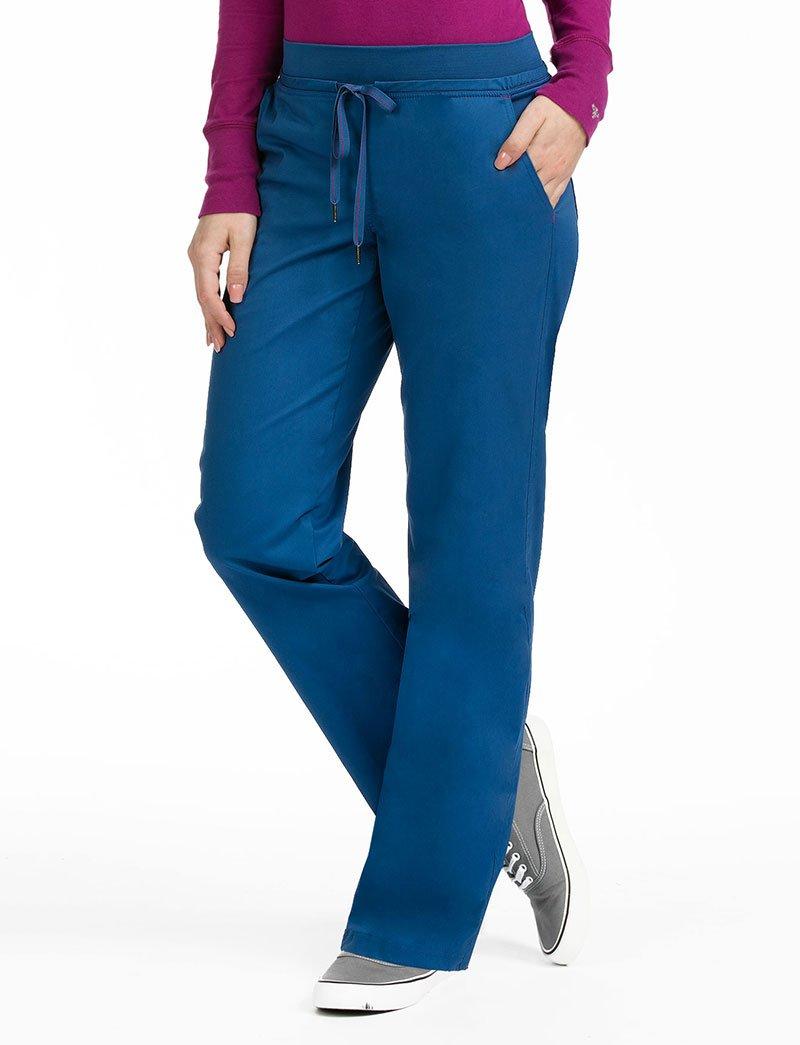 Med Couture Women's Flex-It 8715 Yoga Waist Scrub Pant- Blueberry/Sangria- Large