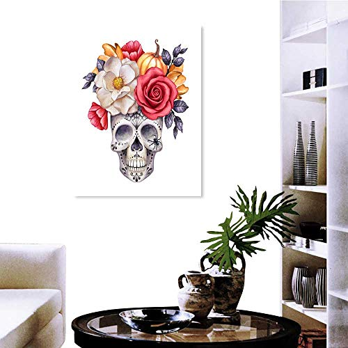 Anzhutwelve Customizable Wall Stickers Watercolor Illustration Halloween Floral Skull Fall Flowers Autumn Pumpkin Dia de Los Muertos Festive Clip Art Isolated on White Background -