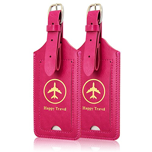 [2 Pack]Luggage Tags, ACdream Leather Case Luggage Bag Tags Travel Tags 2 Pieces Set, Hot Pink