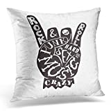Throw Pillow Covers Black Lettering Rock Roll Sign Punk Music Crazy Sex Hard Anarchy Symbol Hipster Creative White Home Home Decor Office Cushion Case Square Size 20 x 20 Inches Pillowcase