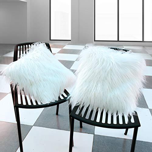 Tgzme Faux Fur Pillowcase New Luxury Series Thick Super Soft Decorative Throw Pillow Cover Case (White Faux Fur, 2 Packs, 18