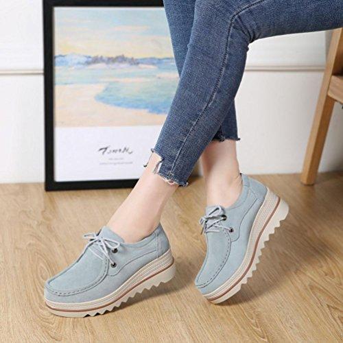 Chaussures Bohème Mocassins Creepers Clair Flats Muffin Chaussures Bleu Up Femme Cuir Plat JIANGfu en Lace Occasionnelles Mode ❤️❤️ Pantoufles Sandales Été Sneakers 0IIqU