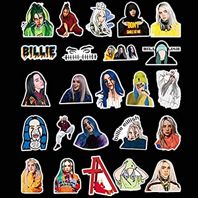 kikoo Billie Eilish Creative Stickers, 50/100pcs PVC Guitar Travel Case Sticker Door Bicycle Stickers (H02-100pcs): Office Products