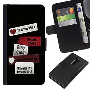 KLONGSHOP // Tirón de la caja Cartera de cuero con ranuras para tarjetas - El amor del Corazón de Viaje Negro Negro Texto sesión - LG G2 D800 //